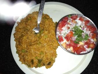 Bisibele Bhath with Tomato Raita