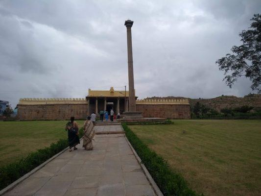 The vast entrance Lawn of Nambi Narayana Temple