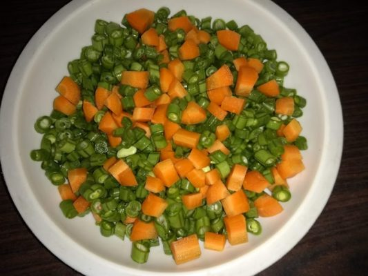Vegetables cubed