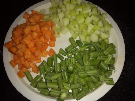 Colorful veggies for Sagu